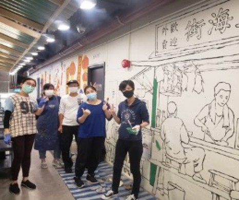 Commissioned Artwork creation- Wall drawing by ADA Artist Apple Tong, So Tat Shing, Hui Pui Sin, Margaux Chan and Mary Cheng in Dignity Kitchen 19 May 2020 -